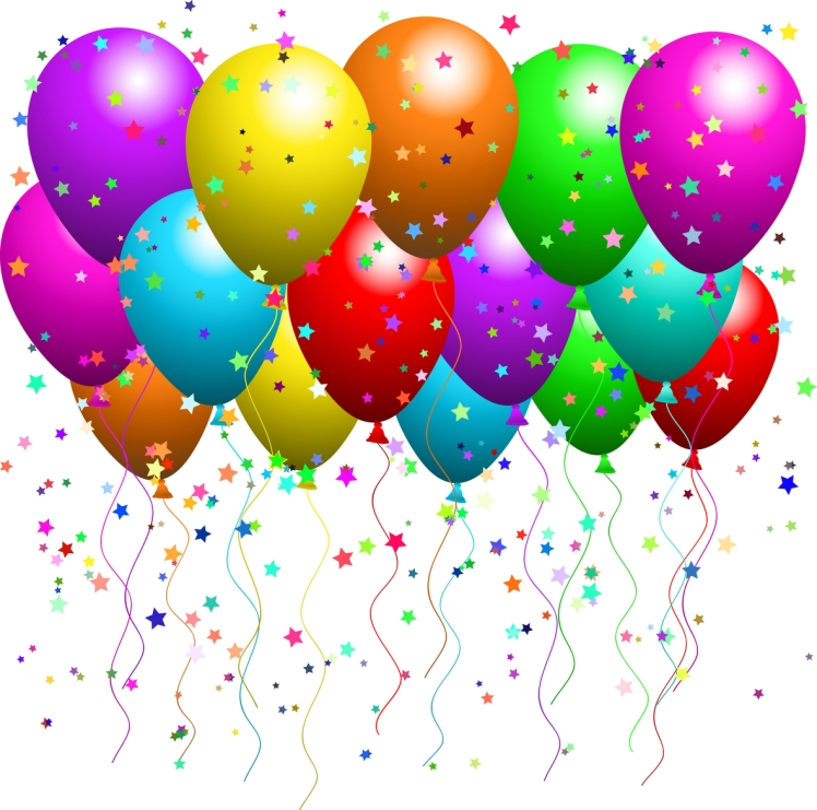 Clipart Illustration of a Bunch Of Floating Party Balloons With